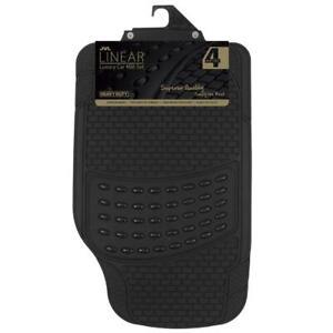 Linear Heavy Duty Luxury Universal Rubber Car Mat Set 4 Pieces Black