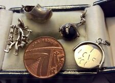 Lovely Lot Of ( 4 ) Four Vintage Solid Silver Charms Or Pendants Nice