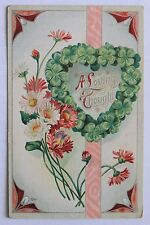 Old embossed postcard A LOVING THOUGHT shamrock heart, flowers