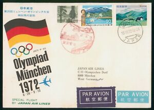 MayfairStamps 1972 Special Olympic Flight to München Japan Air Lines Japan Cover