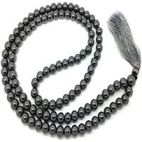 6MM Hematite Necklace 108 Beads Tassels Meditation Unisex Spirituality Mala Yoga