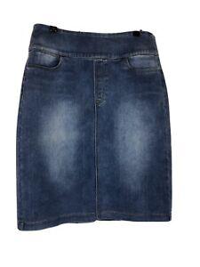 Capture Ladies Size 14 Blue Denim Skirt Elastic Waist Excellent Condition
