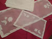 VTG WHITE MADEIRA ORGANDY HAND EMBROIDERED RUNNER & 8 PLACEMATS , NOS