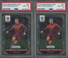 Lot of (2) 2016 Panini Prizm UEFA Soccer #97 Cristiano Ronaldo Portugal PSA 8