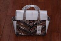 NWT Michael Kors $428 Selma Medium Emboss Leather Satchel Handbag Natural Python