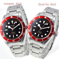 41mm CORGUET black dial red bezel Sapphire 21 jewels miyota automatic mens Watch