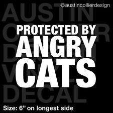 """6"""" PROTECTED BY ANGRY CATS vinyl decal car window laptop sticker - grumpy cat"""