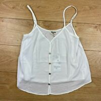 Show Me Your Mumu Cammys Cami Top Medium White Button Front Relaxed Tank New M