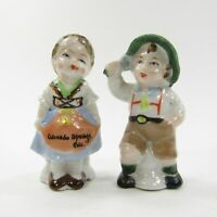 Vintage Japan Salt Pepper Shakers Set German Children Colorado Souvenir 3.5""
