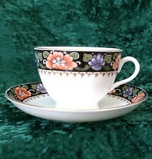 Vintage Deco Tuscan China Tea Cup Saucer Gold Rim Floral 20s Plant #7830