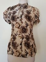 JUICY COUTURE Cream/Taupe/Browns Silk Blouse Size 0/XS