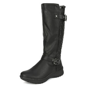 DREAM PAIRS Women Faux Fur Lining Retro Flat Buckle Flat Knee High Riding Boots