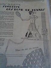 """ANCIEN PATRON POUR LA POUPEE """" BLEUETTE """"COSTUME DE TENNIS   22 MAI 1930"""