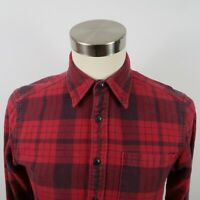 Eddie Bauer Mens Relaxed Fit LS Button Down Burgundy Red Plaid Flannel Shirt S