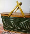 Vintage Burlington Hawkeye Woven Green Picnic Basket