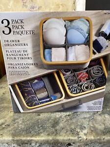 Bra Sock Tie Underwear Crafts Drawer Organizers 3 Pack Bamboo Gray Cloth New