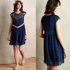 ❤️Anthropologie One September Calliope Embroidery Geometric Short Dress Lined S