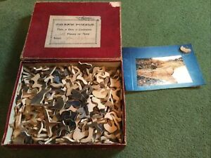 Antique Vintage 1900's Jigsaw Puzzle Wood Cut Different Shapes 'After Big Game'