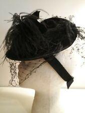Vintage 1940's black wool felt, feathered and veiled tilt cocktail hat