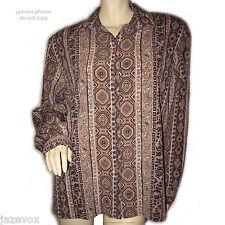 ALIA Womens Button Down Shirt Top Blouse Brown Geometric Pattern Long Sleeve 14