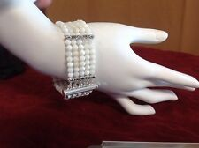 "Natural Mother Of Pearl Bracelet 5 Strand S8"""