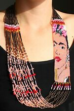 NE710 Crystal Glass Beaded Frida Kahlo Hand Stranded Necklace Fine Art Jewelry