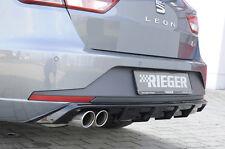 Rieger heckansatz negro brillante doble tubo izquierda para Seat Leon 5f St FR