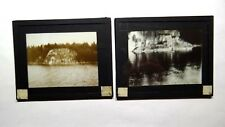 2 Magic Lantern Slides Views of Frye's Leap Sebago Lake Raymond Maine ME c.1900