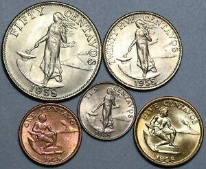 1958 Philippines 1c 5c 10c 25c 50c Five Coin Type Set Choice BU (20110501R)