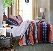 URBAN BOHO 2pc Twin Quilt Set Bohemian Tribal Batik reversible blue stripe New