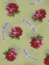 vtg sewing fabric 1 3/4 yards yellow red seersucker American Beauty Rose cotton