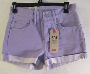 NWT Levis 501 Womens Mid Rise Rolled Cuff Shorts 26 Lavender MSRP$69