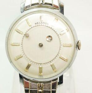 Vintage Helbros Mystery Dial Men's 17J Wristwatch For Restoration
