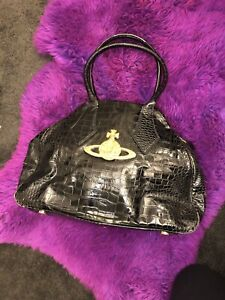 Real Large Vivienne Westwood Vintage Black And Gold Leather Handbag