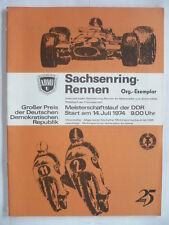 PROGRAMME GRAND PRIX ALLEMAGNE DE L'EST DDR MOTO 1974 SACHSENRING