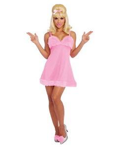 Fembot Womens Costume Dress Austin Powers Movie Sexy Spy 60s 90s Baby Doll Pink