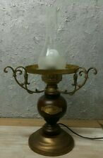 Vintage Oil Style Brass/Wooden Electric Lamp AMERICAN COOP 1850 with Glass Shade
