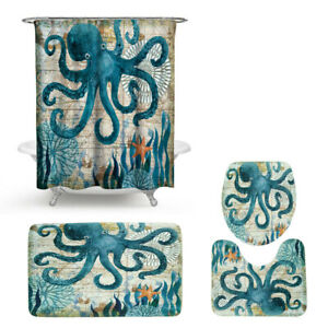 Sea Animal Print Bathroom Shower Curtain Waterproof Non-slip Toilet Mat Rug Set