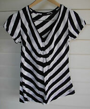 David Lawrence Women's Black & White Stripe Short-Sleeve Top - Size XS