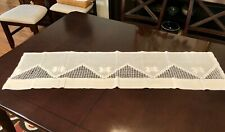 Antique 1900's White Linen Curtain Valance Drawn Thread Work Embroidery