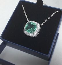 "New Silver plated Aquamarine gemstone pendant  with 18"" necklace in a gift box"