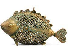 Art Africain - Pendentif Poisson Akan - Bijoux Bronze Filigrane - 16 Cms +++++++
