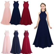 Girls Floral Lace Dress Princess Pageant Wedding Bridesmaid Birthday Party Maxi