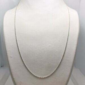 "20"" Solid 14k White Gold Pendant Chain Necklace (9887)"