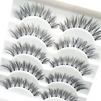 5Pair Natural Cross Eye Lashes Extension Makeup False Eyelashes Clear Band
