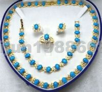 Beautiful Turquoise necklace bracelet ring earring set+ box)