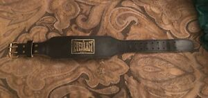 Everlast small padded leather weight belt with buckle black model 1017 33 inches