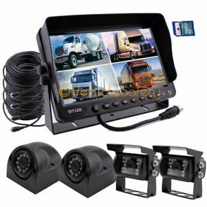 """Vehicle Backup Reverse Camera Safety System +9"""" Monitor With DVR & Quad Screen"""