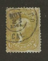 US Stamp #67b Olive Yellow 5c Jefferson 1861 Town Cancel With Faults SCV $4750