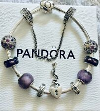 Genuine Pandora  Heart Clasp Charm  Bracelet With Safety Chain + 9 Charms + Box